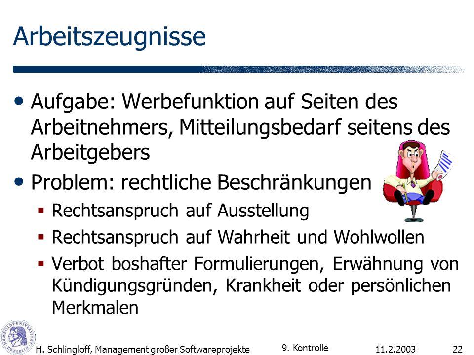 11.2.2003H. Schlingloff, Management großer Softwareprojekte22 Arbeitszeugnisse Aufgabe: Werbefunktion auf Seiten des Arbeitnehmers, Mitteilungsbedarf