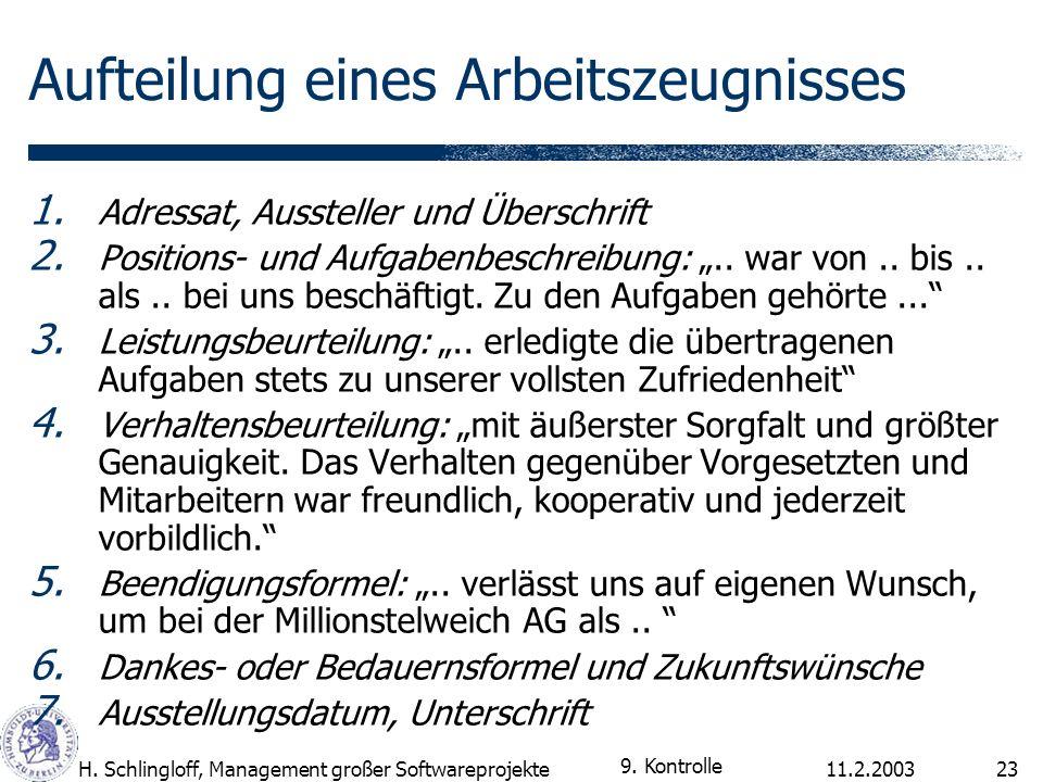 11.2.2003H. Schlingloff, Management großer Softwareprojekte23 Aufteilung eines Arbeitszeugnisses 1. Adressat, Aussteller und Überschrift 2. Positions-