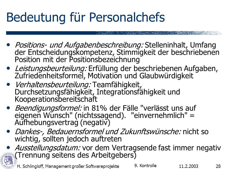 11.2.2003H. Schlingloff, Management großer Softwareprojekte28 Bedeutung für Personalchefs Positions- und Aufgabenbeschreibung: Stelleninhalt, Umfang d