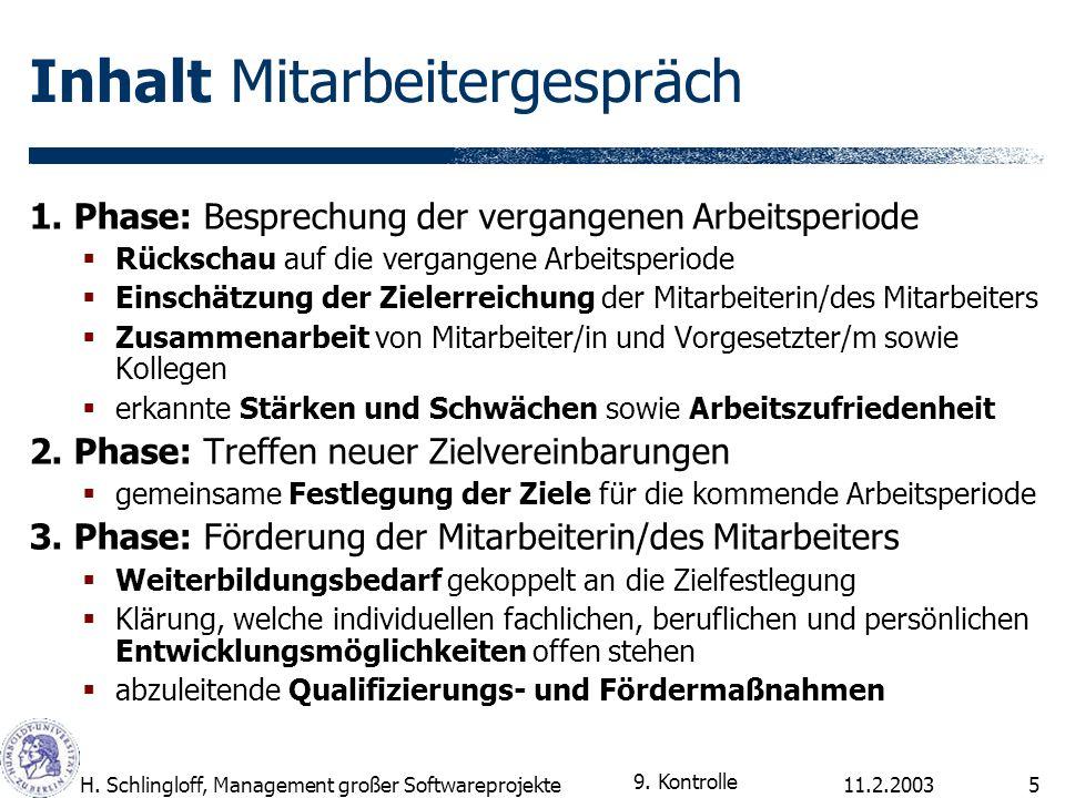 11.2.2003H. Schlingloff, Management großer Softwareprojekte5 Inhalt Mitarbeitergespräch 1. Phase: Besprechung der vergangenen Arbeitsperiode Rückschau