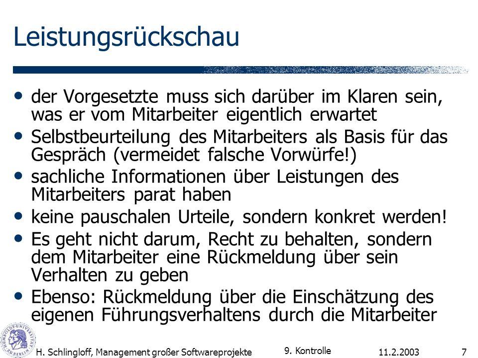 11.2.2003H. Schlingloff, Management großer Softwareprojekte7 Leistungsrückschau der Vorgesetzte muss sich darüber im Klaren sein, was er vom Mitarbeit