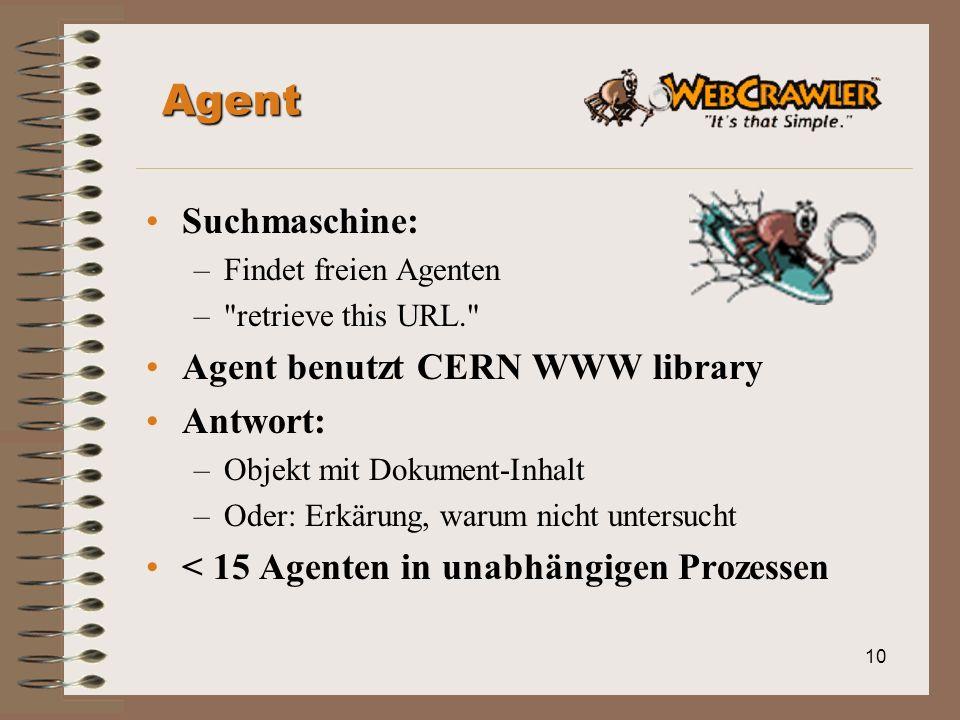 10 Agent Suchmaschine: –Findet freien Agenten – retrieve this URL. Agent benutzt CERN WWW library Antwort: –Objekt mit Dokument-Inhalt –Oder: Erkärung, warum nicht untersucht < 15 Agenten in unabhängigen Prozessen