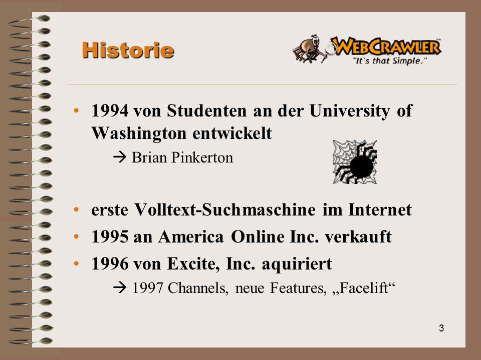 3 Historie 1994 von Studenten an der University of Washington entwickelt Brian Pinkerton erste Volltext-Suchmaschine im Internet 1995 an America Online Inc.