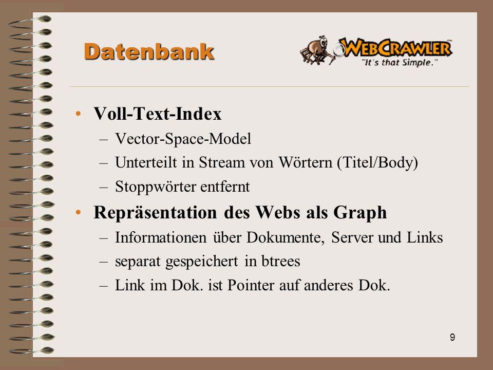 9 Datenbank Voll-Text-Index –Vector-Space-Model –Unterteilt in Stream von Wörtern (Titel/Body) –Stoppwörter entfernt Repräsentation des Webs als Graph –Informationen über Dokumente, Server und Links –separat gespeichert in btrees –Link im Dok.