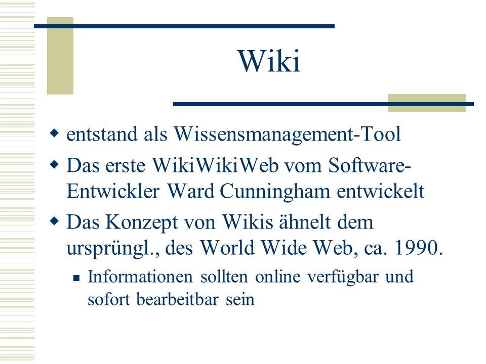 Wiki entstand als Wissensmanagement-Tool Das erste WikiWikiWeb vom Software- Entwickler Ward Cunningham entwickelt Das Konzept von Wikis ähnelt dem ur
