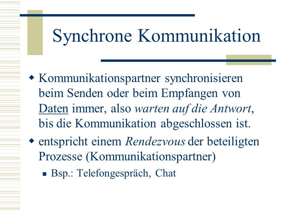 Synchrone Kommunikation Kommunikationspartner synchronisieren beim Senden oder beim Empfangen von Daten immer, also warten auf die Antwort, bis die Ko