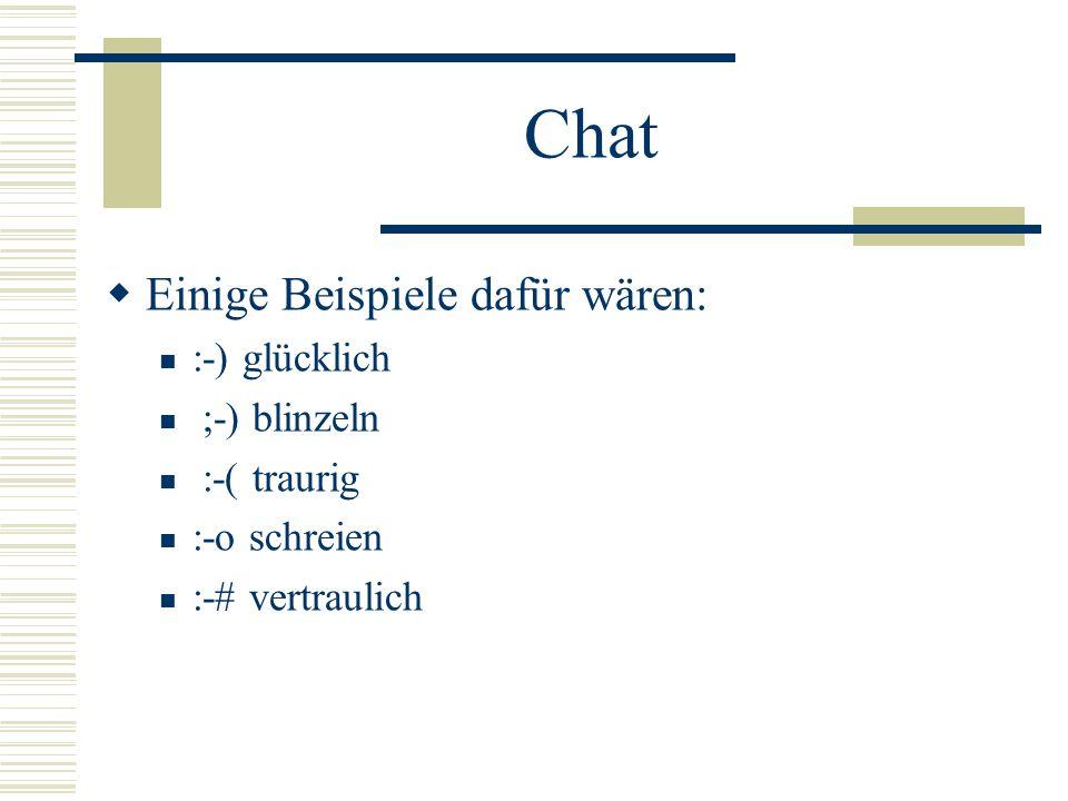 Chat Einige Beispiele dafür wären: :-) glücklich ;-) blinzeln :-( traurig :-o schreien :-# vertraulich