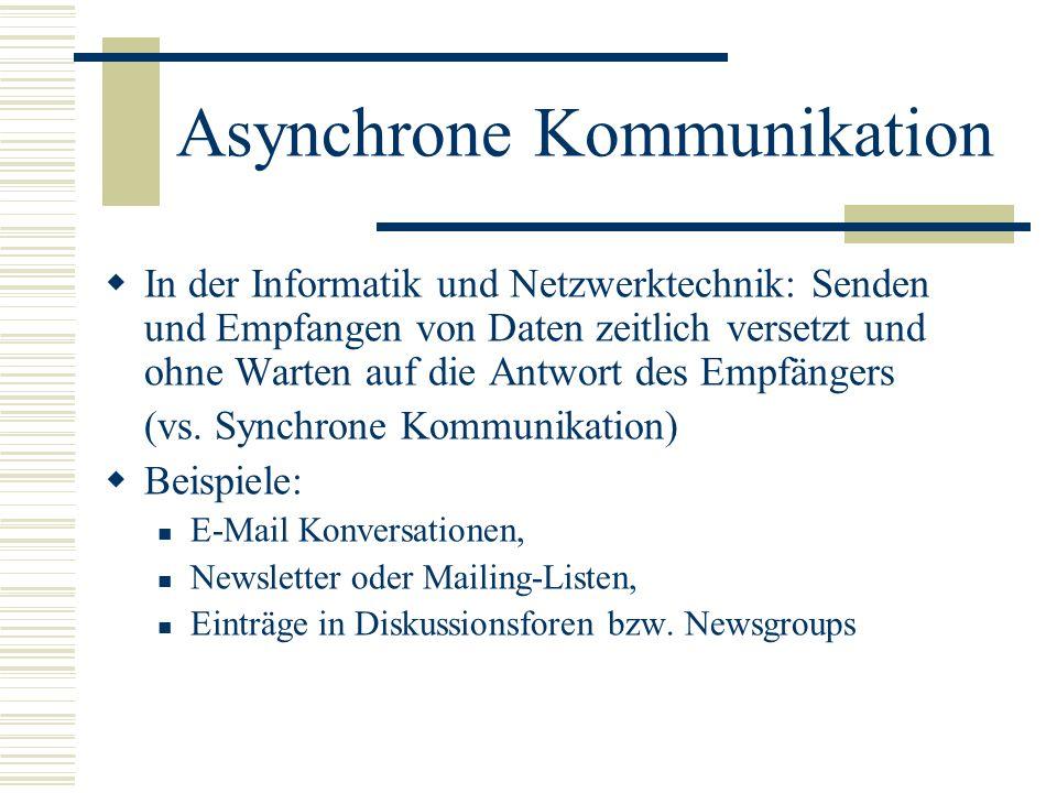 Asynchrone Kommunikation In der Informatik und Netzwerktechnik: Senden und Empfangen von Daten zeitlich versetzt und ohne Warten auf die Antwort des E