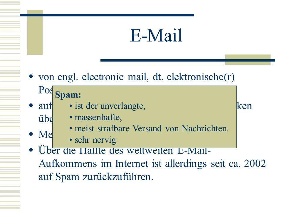 E-Mail von engl. electronic mail, dt. elektronische(r) Post/Brief auf elektronischem Weg in Computernetzwerken übertragene, briefartige Nachricht Meis