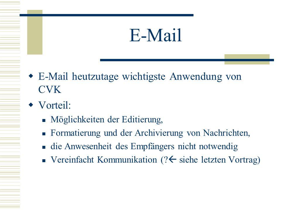 E-Mail E-Mail heutzutage wichtigste Anwendung von CVK Vorteil: Möglichkeiten der Editierung, Formatierung und der Archivierung von Nachrichten, die An