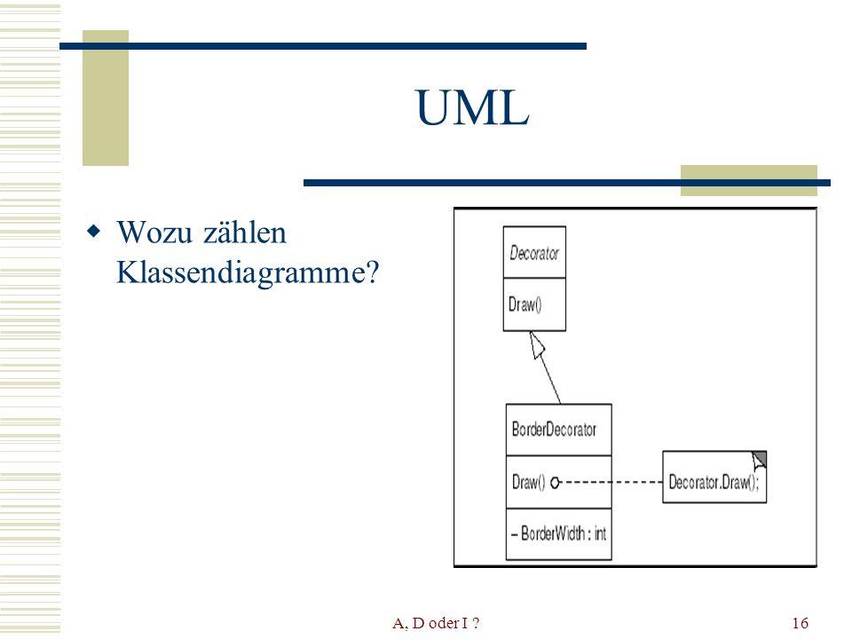 A, D oder I 16 UML Wozu zählen Klassendiagramme
