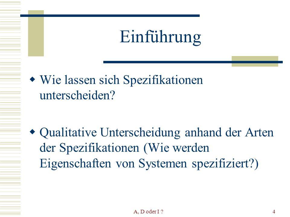 A, D oder I ?5 The Intension/Locality criteria Es werden 2 Kriterien zur Unterscheidung von Spezifikationen aufgestellt: 1.