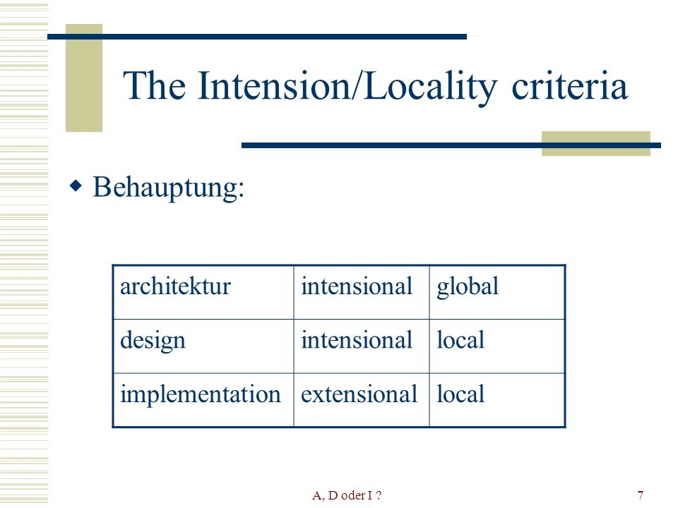 A, D oder I ?7 The Intension/Locality criteria Behauptung: architekturintensionalglobal designintensionallocal implementationextensionallocal
