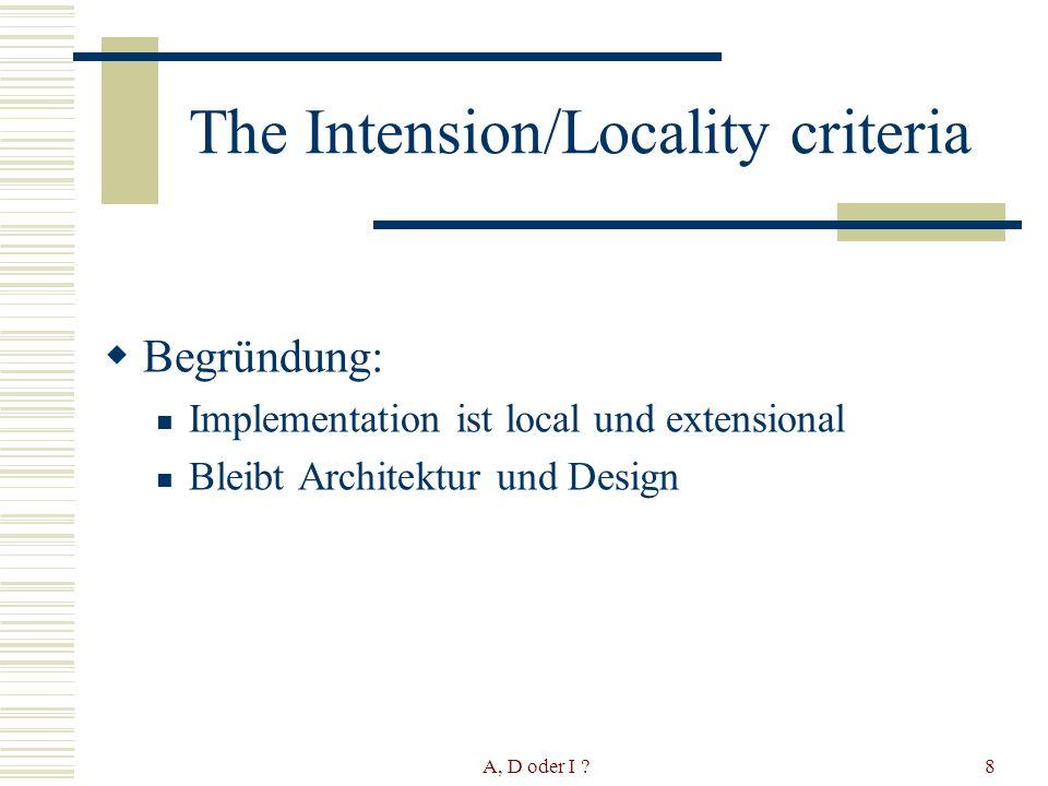 A, D oder I ?9 The Intension/Locality criteria Design ist intentional und local: Beispiel Design Patterns (Factorymethoden)