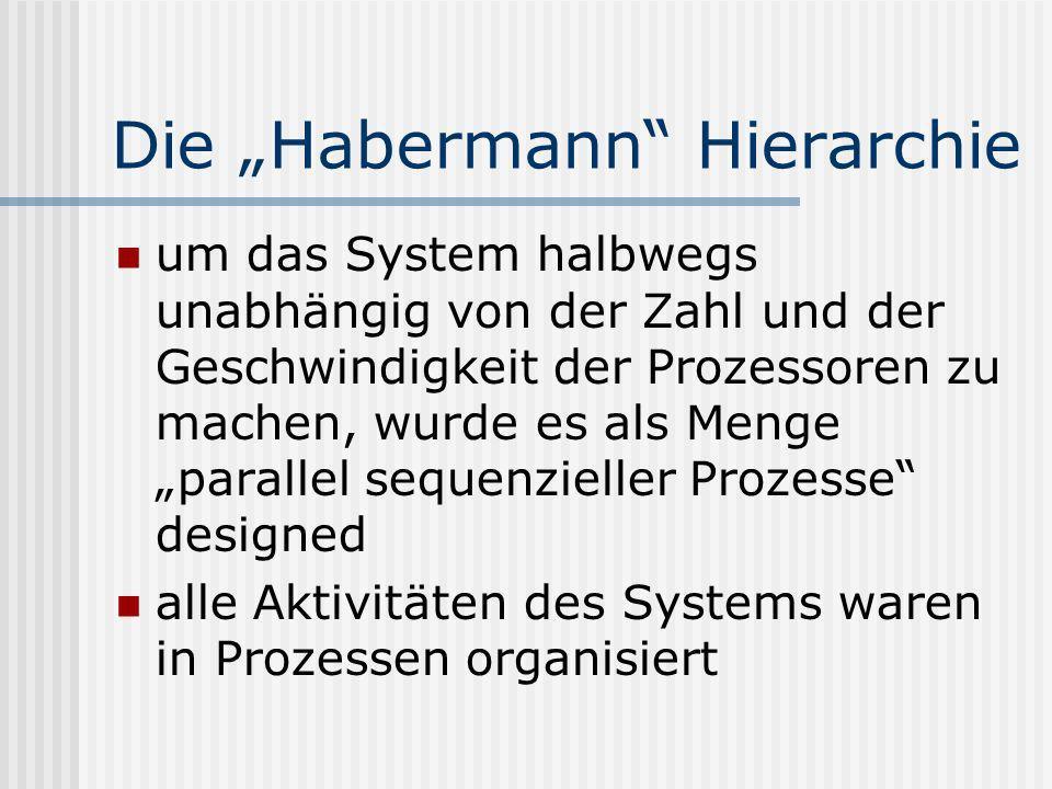 Die Habermann Hierarchie um das System halbwegs unabhängig von der Zahl und der Geschwindigkeit der Prozessoren zu machen, wurde es als Menge parallel sequenzieller Prozesse designed alle Aktivitäten des Systems waren in Prozessen organisiert