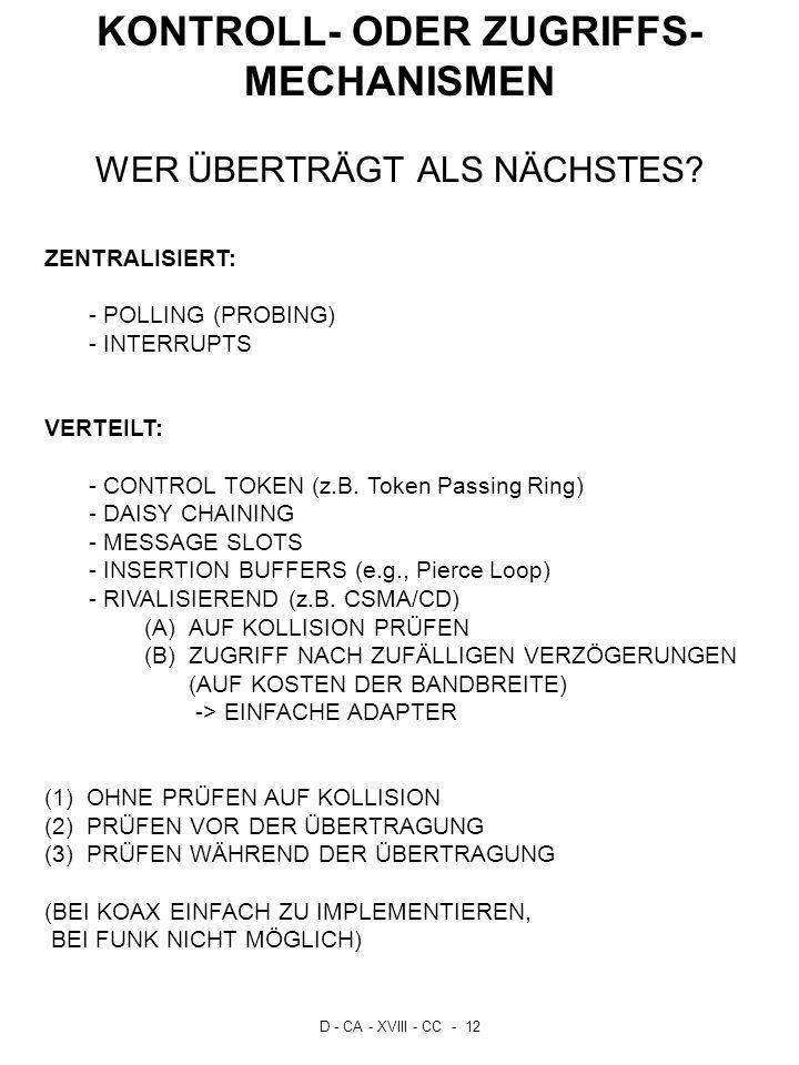 D - CA - XVIII - CC - 12 KONTROLL- ODER ZUGRIFFS- MECHANISMEN WER ÜBERTRÄGT ALS NÄCHSTES? ZENTRALISIERT: - POLLING (PROBING) - INTERRUPTS VERTEILT: -