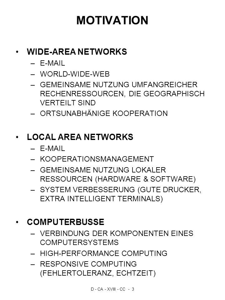 D - CA - XVIII - CC - 3 MOTIVATION WIDE-AREA NETWORKS –E-MAIL –WORLD-WIDE-WEB –GEMEINSAME NUTZUNG UMFANGREICHER RECHENRESSOURCEN, DIE GEOGRAPHISCH VER