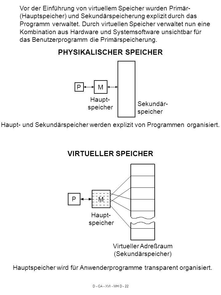 D - CA - XVI - MH D - 22 Vor der Einführung von virtuellem Speicher wurden Primär- (Hauptspeicher) und Sekundärspeicherung explizit durch das Programm verwaltet.