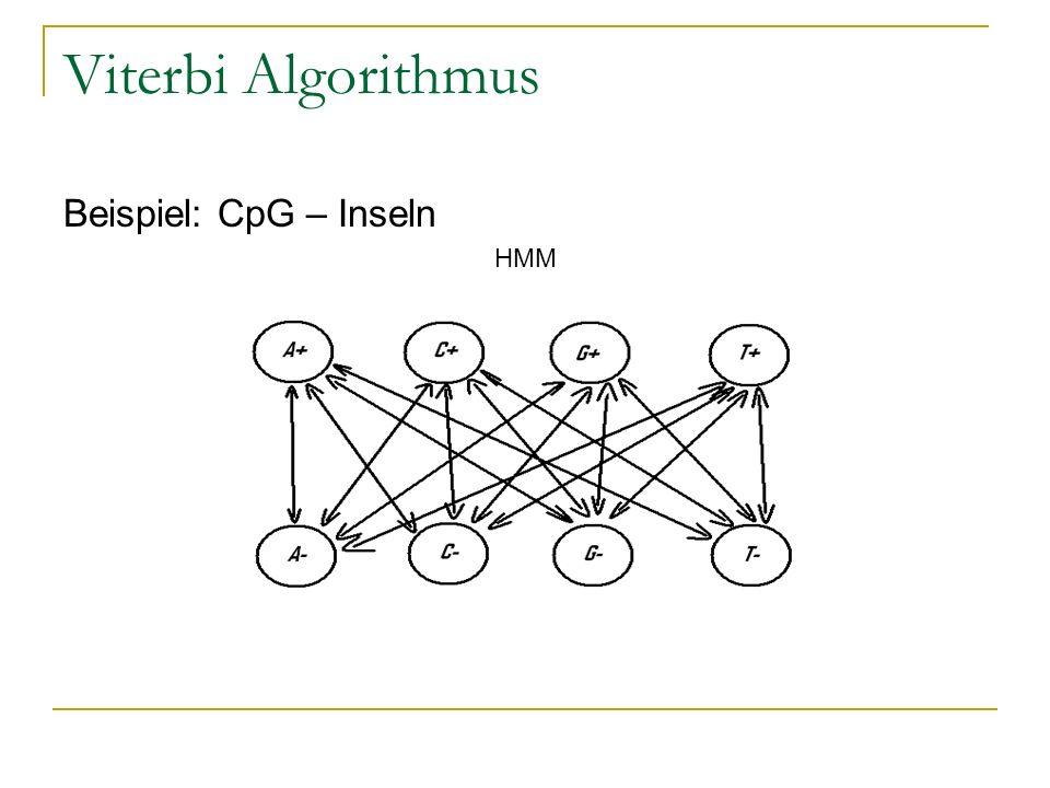 Viterbi Algorithmus Beispiel: CpG – Inseln HMM
