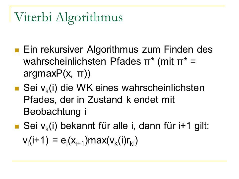 Viterbi Algorithmus Ein rekursiver Algorithmus zum Finden des wahrscheinlichsten Pfades π* (mit π* = argmaxP(x, π)) Sei v k (i) die WK eines wahrscheinlichsten Pfades, der in Zustand k endet mit Beobachtung i Sei v k (i) bekannt für alle i, dann für i+1 gilt: v l (i+1) = e l (x i+1 )max(v k (i)r kl )
