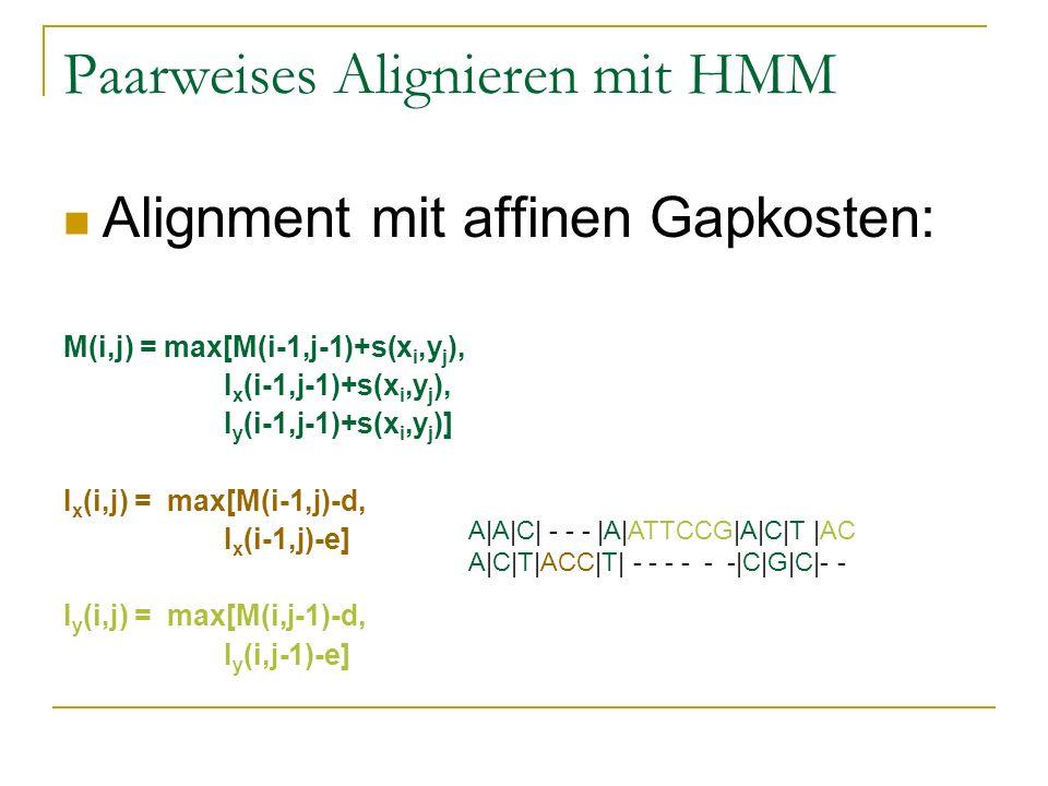 Paarweises Alignieren mit HMM Alignment mit affinen Gapkosten: M(i,j) = max[M(i-1,j-1)+s(x i,y j ), I x (i-1,j-1)+s(x i,y j ), I y (i-1,j-1)+s(x i,y j )] I x (i,j) = max[M(i-1,j)-d, I x (i-1,j)-e] I y (i,j) = max[M(i,j-1)-d, I y (i,j-1)-e] A|A|C| - - - |A|ATTCCG|A|C|T |AC A|C|T|ACC|T| - - - - - -|C|G|C|- -