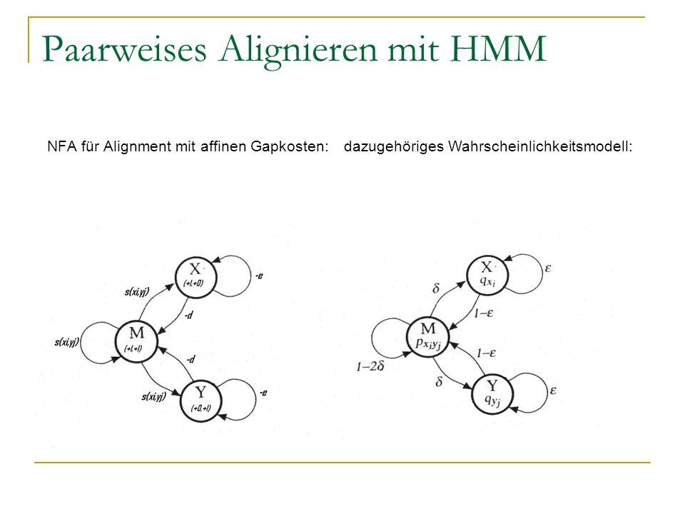 Paarweises Alignieren mit HMM NFA für Alignment mit affinen Gapkosten: dazugehöriges Wahrscheinlichkeitsmodell: