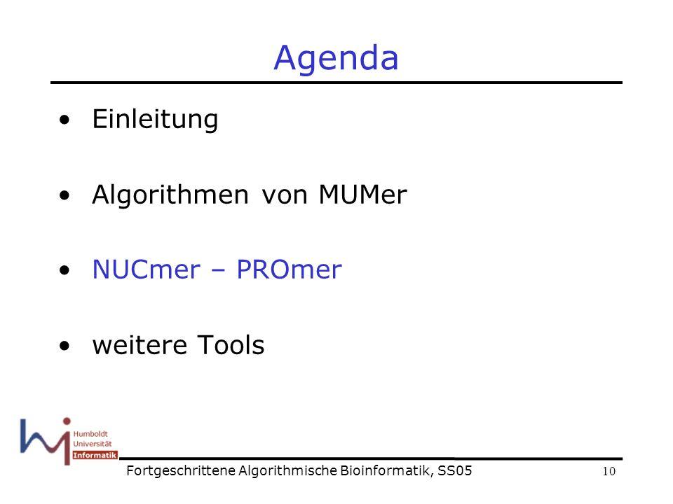 10 Agenda Einleitung Algorithmen von MUMer NUCmer – PROmer weitere Tools Fortgeschrittene Algorithmische Bioinformatik, SS05