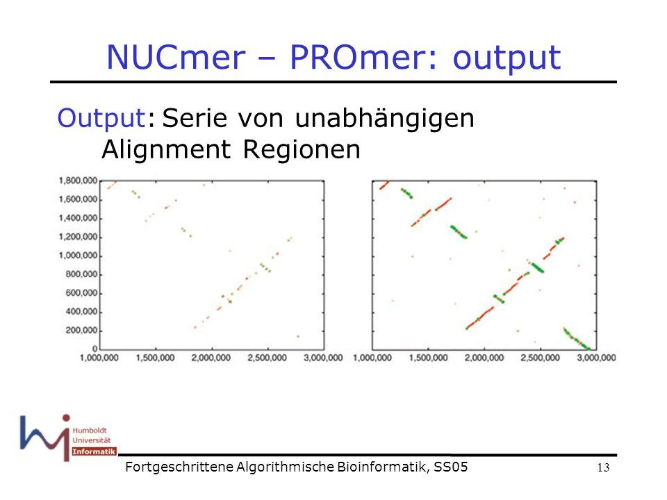 13 NUCmer – PROmer: output Output:Serie von unabhängigen Alignment Regionen Fortgeschrittene Algorithmische Bioinformatik, SS05