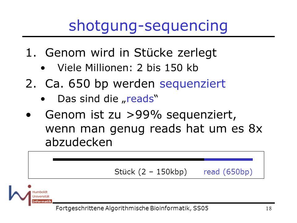 18 shotgung-sequencing 1.Genom wird in Stücke zerlegt Viele Millionen: 2 bis 150 kb 2.Ca.