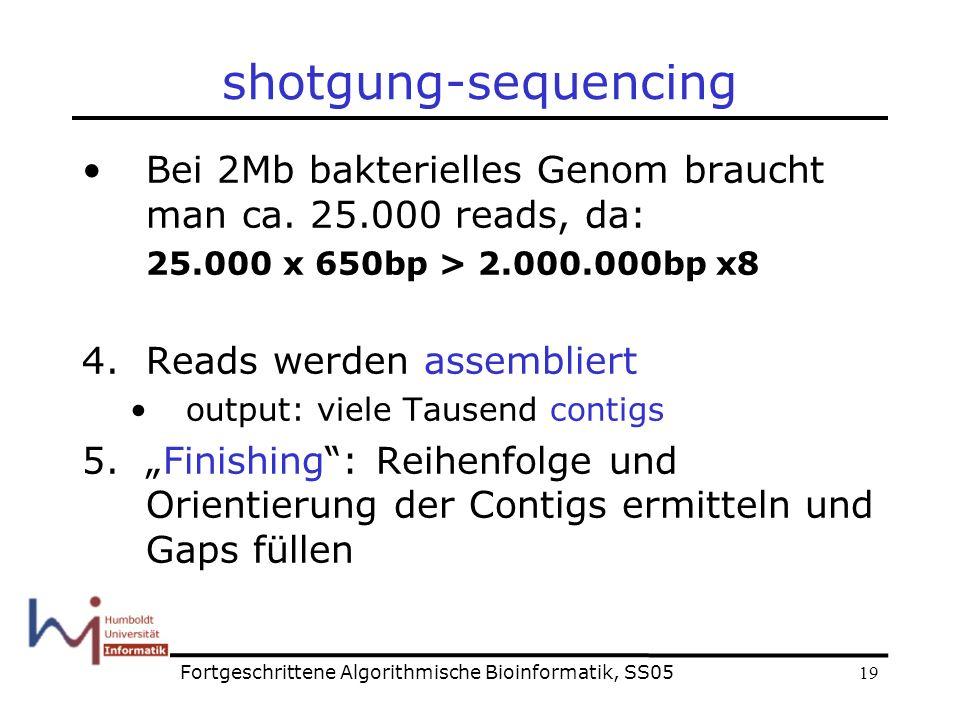 19 shotgung-sequencing Bei 2Mb bakterielles Genom braucht man ca.