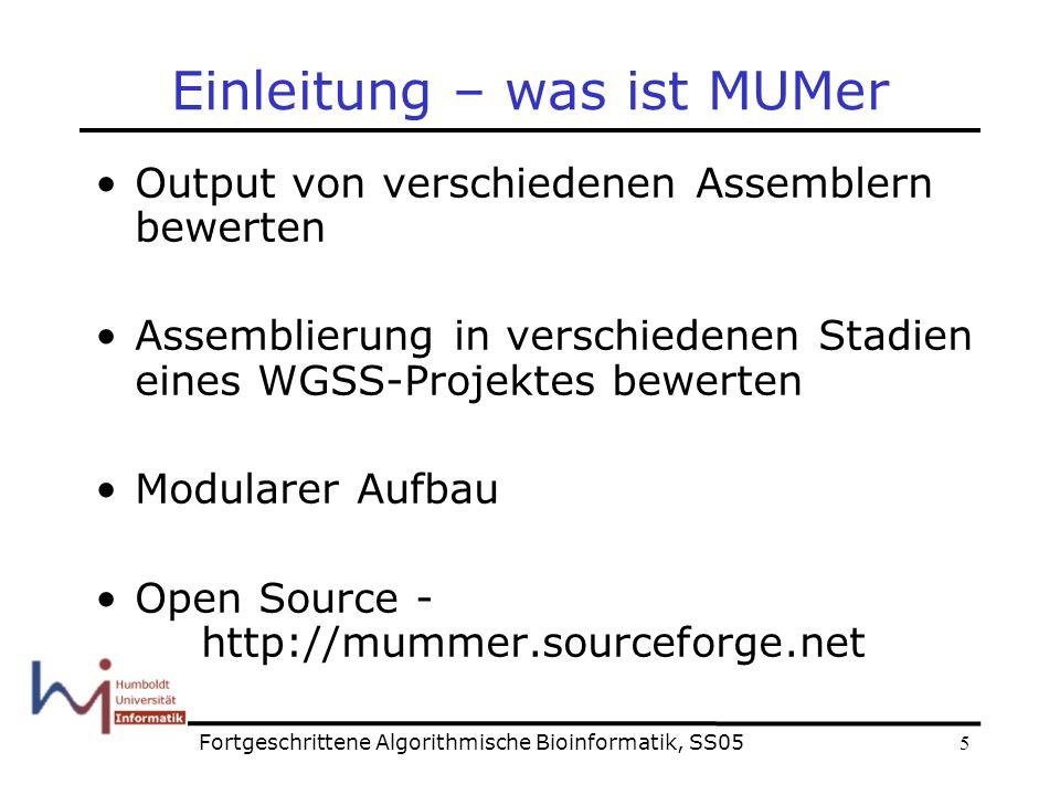 5 Einleitung – was ist MUMer Output von verschiedenen Assemblern bewerten Assemblierung in verschiedenen Stadien eines WGSS-Projektes bewerten Modularer Aufbau Open Source - http://mummer.sourceforge.net Fortgeschrittene Algorithmische Bioinformatik, SS05