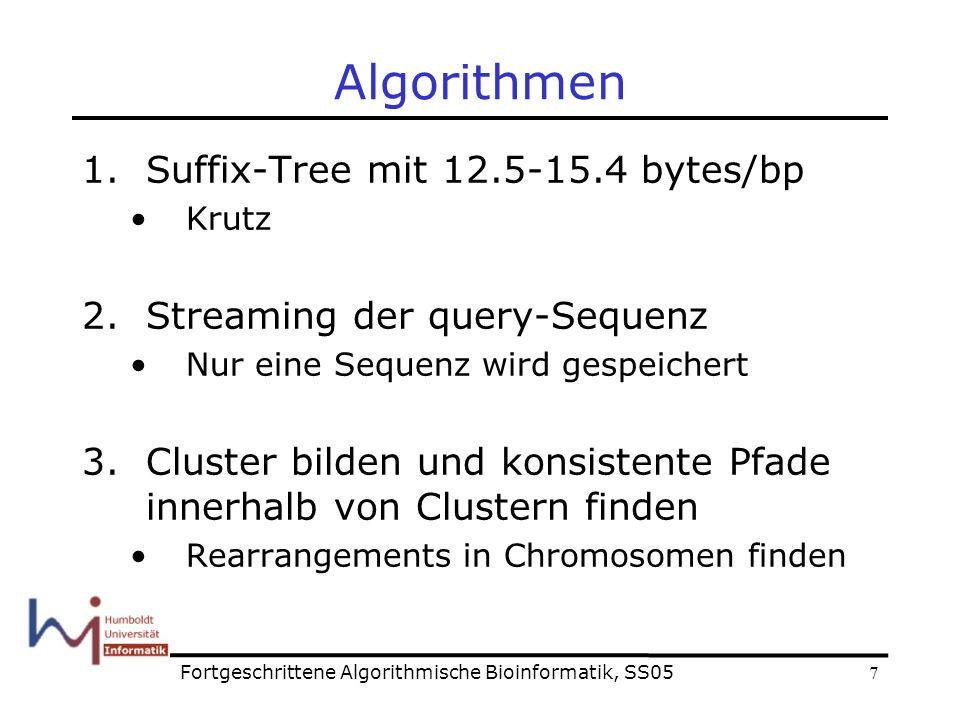 8 Algorithmus: streaming Querysequenz: …atgtcc… Fortgeschrittene Algorithmische Bioinformatik, SS05 Refernzsequenz :