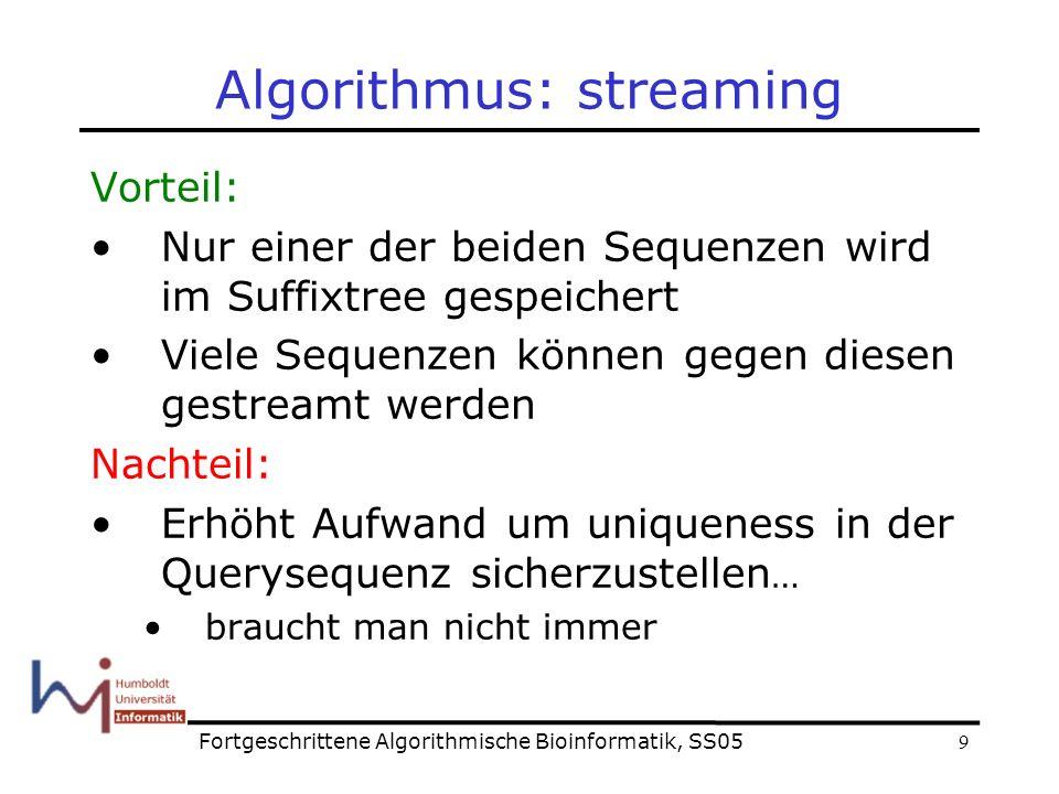 9 Algorithmus: streaming Vorteil: Nur einer der beiden Sequenzen wird im Suffixtree gespeichert Viele Sequenzen können gegen diesen gestreamt werden Nachteil: Erhöht Aufwand um uniqueness in der Querysequenz sicherzustellen … braucht man nicht immer Fortgeschrittene Algorithmische Bioinformatik, SS05