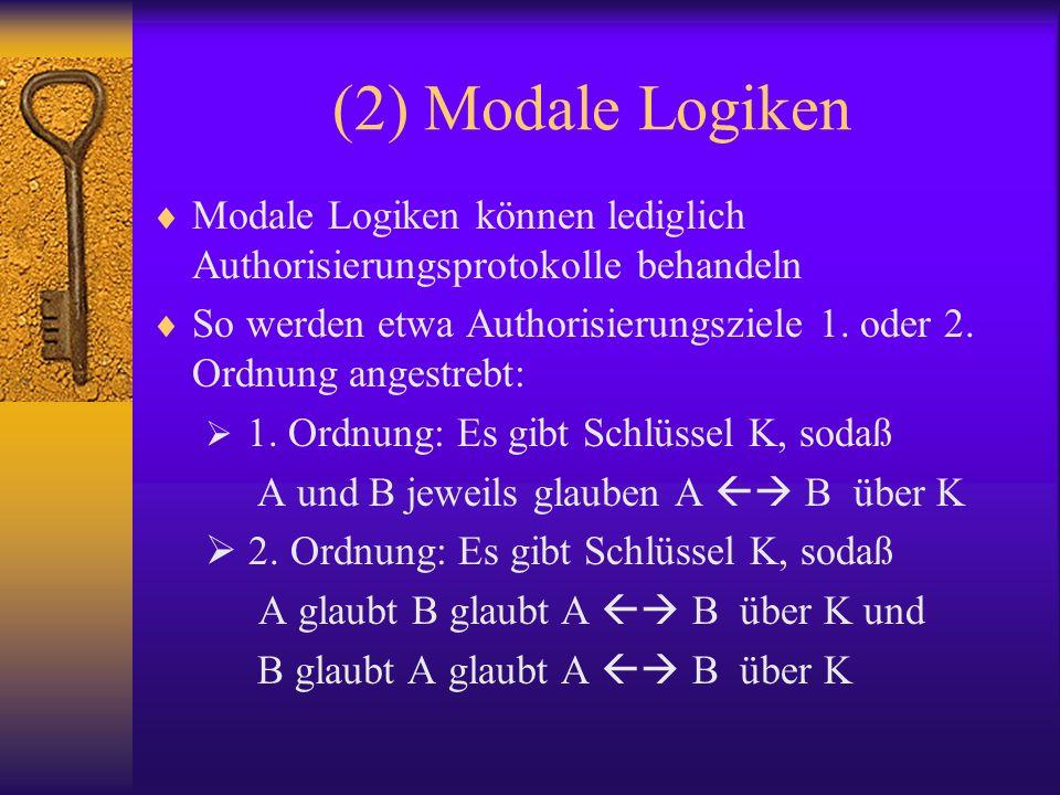 (2) Modale Logiken Modale Logiken können lediglich Authorisierungsprotokolle behandeln So werden etwa Authorisierungsziele 1. oder 2. Ordnung angestre