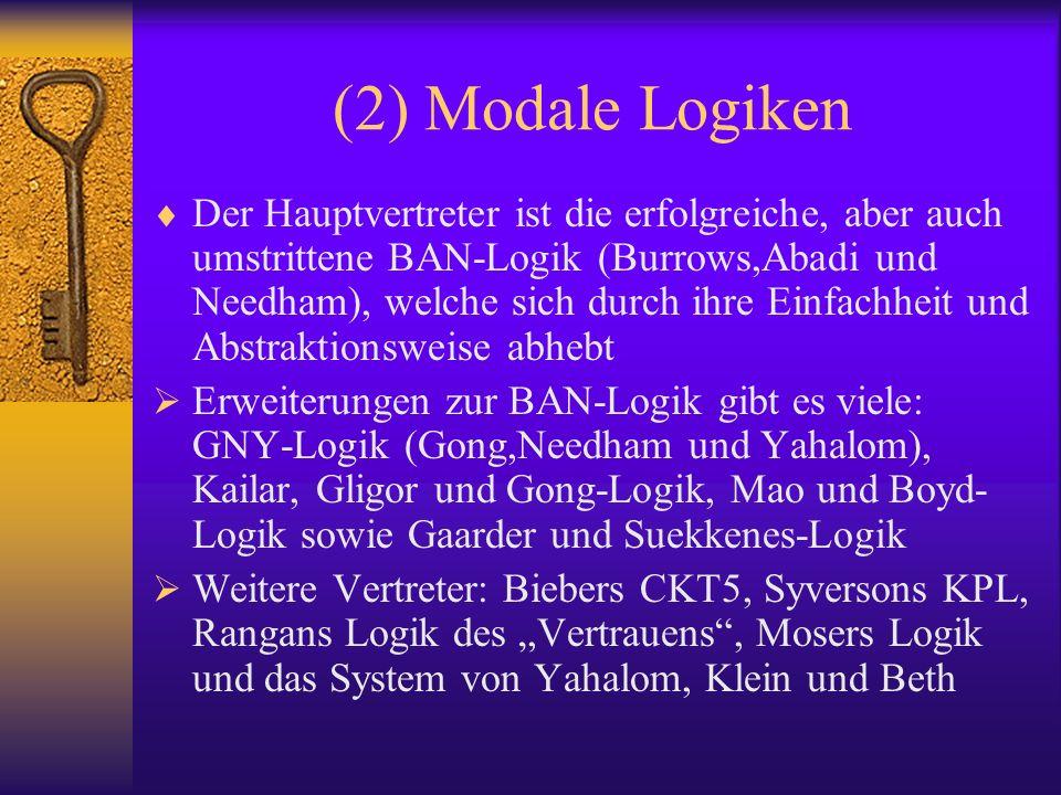 (2) Modale Logiken Der Hauptvertreter ist die erfolgreiche, aber auch umstrittene BAN-Logik (Burrows,Abadi und Needham), welche sich durch ihre Einfac