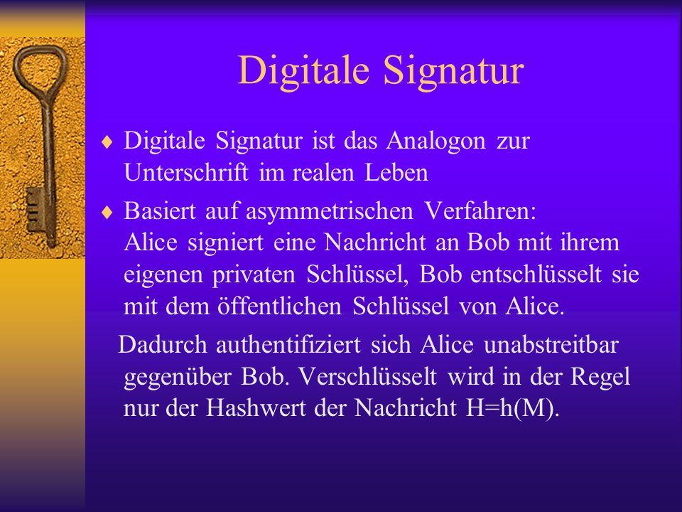 Digitale Signatur Digitale Signatur ist das Analogon zur Unterschrift im realen Leben Basiert auf asymmetrischen Verfahren: Alice signiert eine Nachri