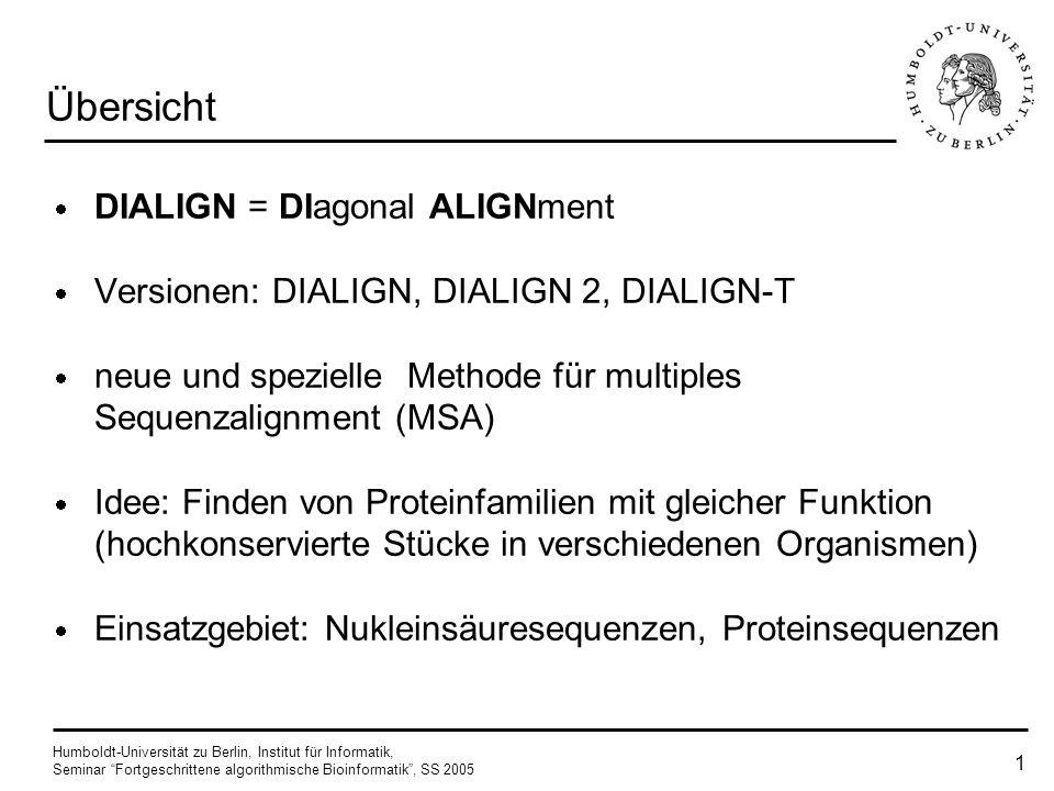 Humboldt-Universität zu Berlin, Institut für Informatik, Seminar Fortgeschrittene algorithmische Bioinformatik, SS 2005 DIALIGN Seminarvortrag von Ger