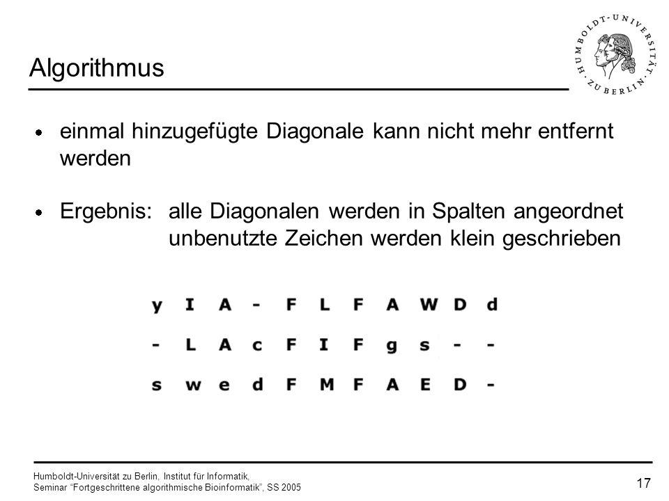Humboldt-Universität zu Berlin, Institut für Informatik, Seminar Fortgeschrittene algorithmische Bioinformatik, SS 2005 16 Algorithmus Wiederholen des