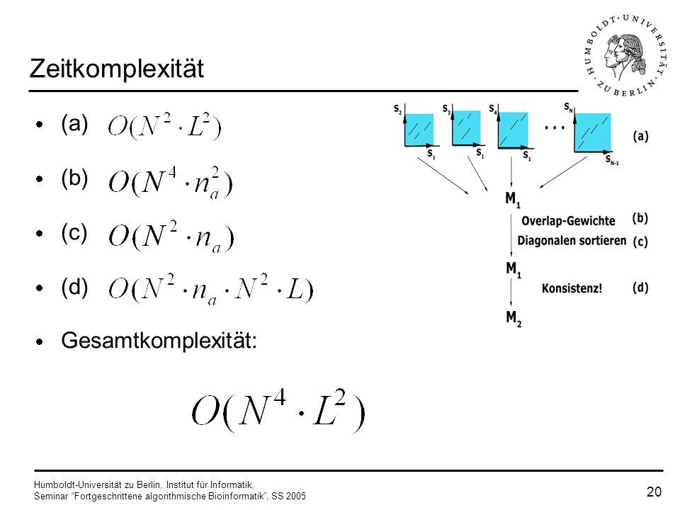 Humboldt-Universität zu Berlin, Institut für Informatik, Seminar Fortgeschrittene algorithmische Bioinformatik, SS 2005 19 Zeitkomplexität consistency