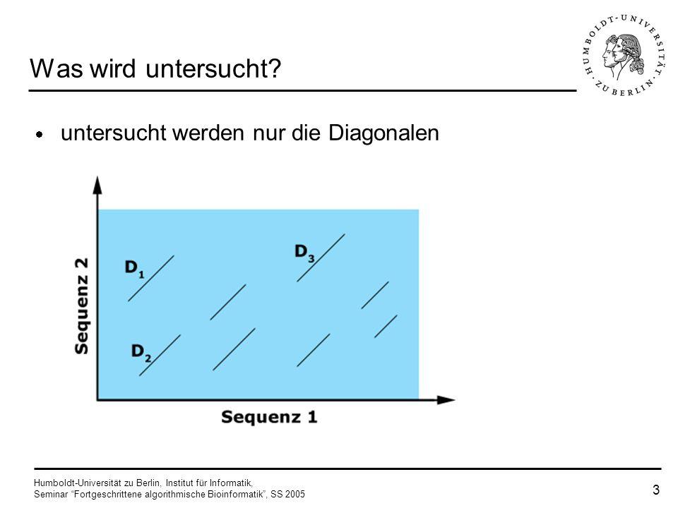 Humboldt-Universität zu Berlin, Institut für Informatik, Seminar Fortgeschrittene algorithmische Bioinformatik, SS 2005 13 Algorithmus (Overlap) sind D l und D m identisch oder haben keinen Overlap für eine beliebige Diagonale D wird Overlap-Gewicht folgendermaßen definiert