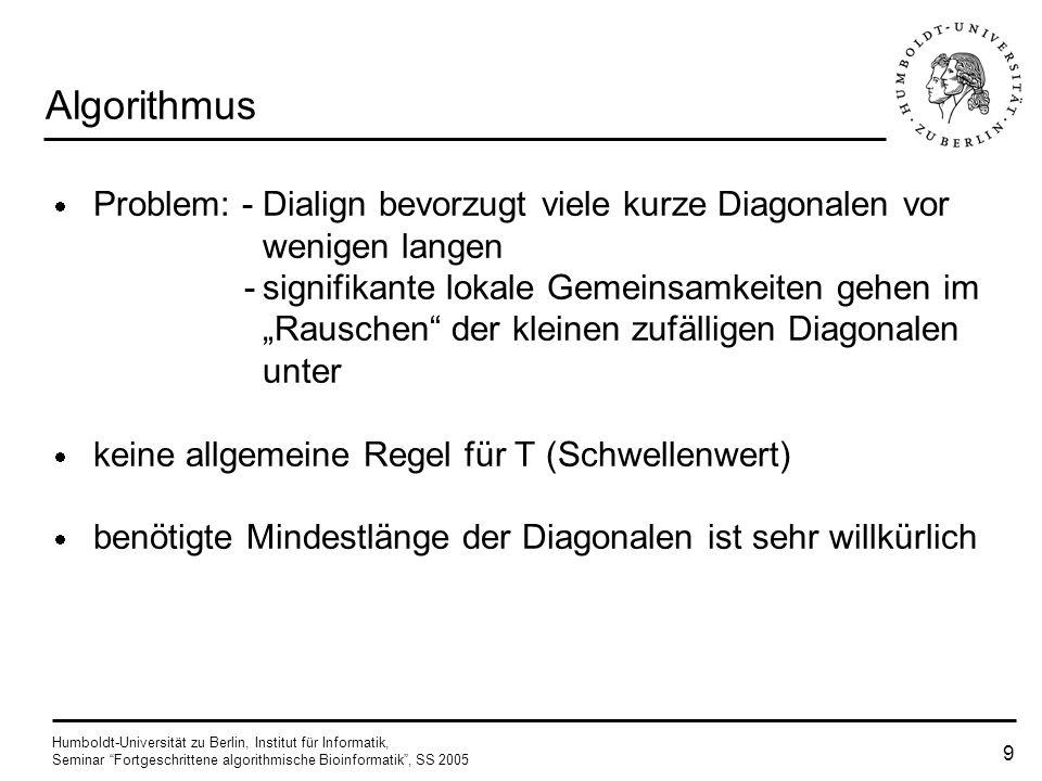 Humboldt-Universität zu Berlin, Institut für Informatik, Seminar Fortgeschrittene algorithmische Bioinformatik, SS 2005 9 Algorithmus Problem: - Dialign bevorzugt viele kurze Diagonalen vor wenigen langen -signifikante lokale Gemeinsamkeiten gehen im Rauschen der kleinen zufälligen Diagonalen unter keine allgemeine Regel für T (Schwellenwert) benötigte Mindestlänge der Diagonalen ist sehr willkürlich