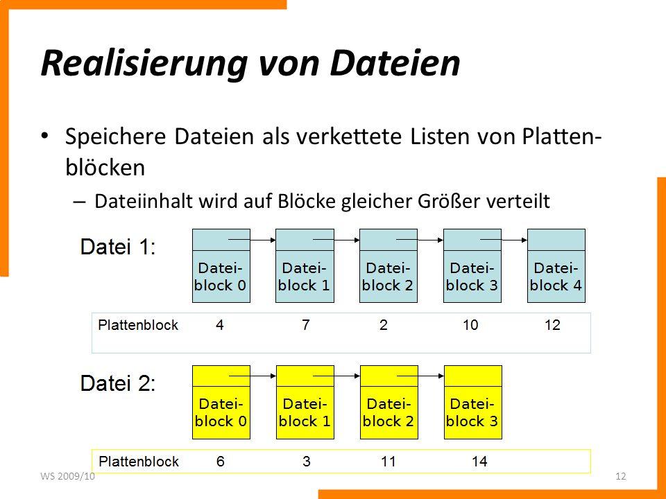 Realisierung von Dateien Speichere Dateien als verkettete Listen von Platten- blöcken – Dateiinhalt wird auf Blöcke gleicher Größer verteilt WS 2009/1