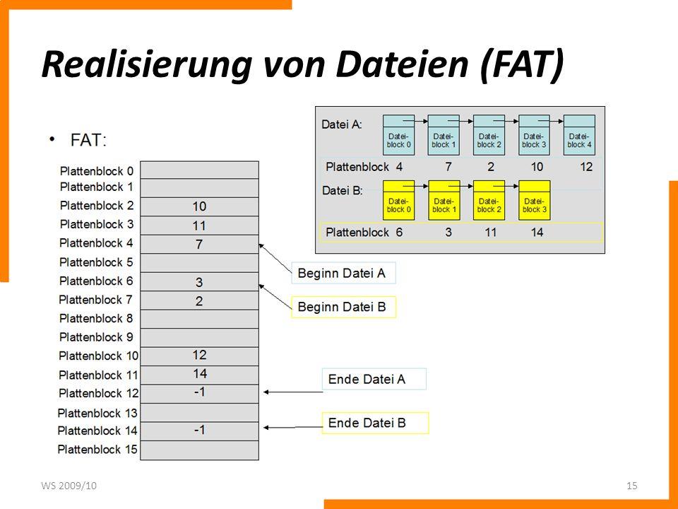 Realisierung von Dateien (FAT) WS 2009/1015