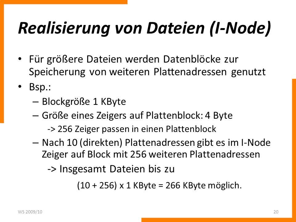 Realisierung von Dateien (I-Node) Für größere Dateien werden Datenblöcke zur Speicherung von weiteren Plattenadressen genutzt Bsp.: – Blockgröße 1 KBy
