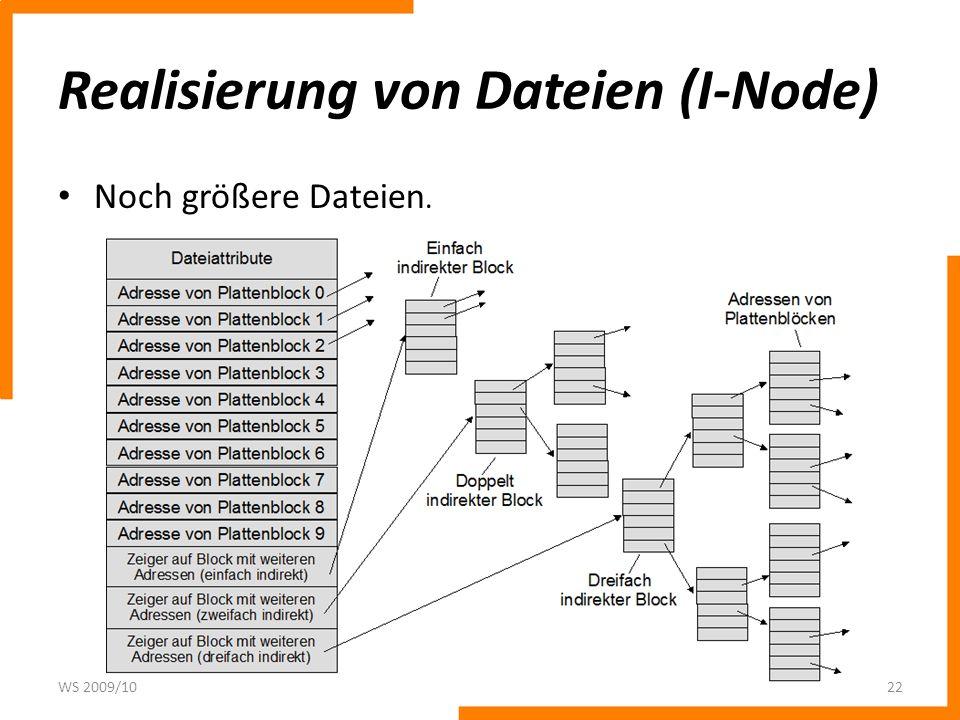 Realisierung von Dateien (I-Node) Noch größere Dateien. WS 2009/1022
