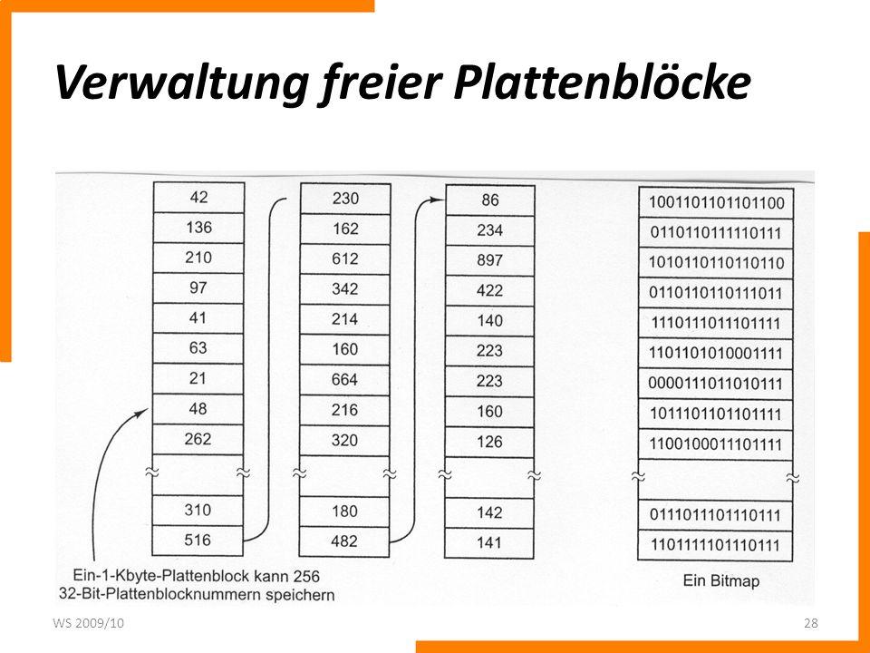 Verwaltung freier Plattenblöcke WS 2009/1028