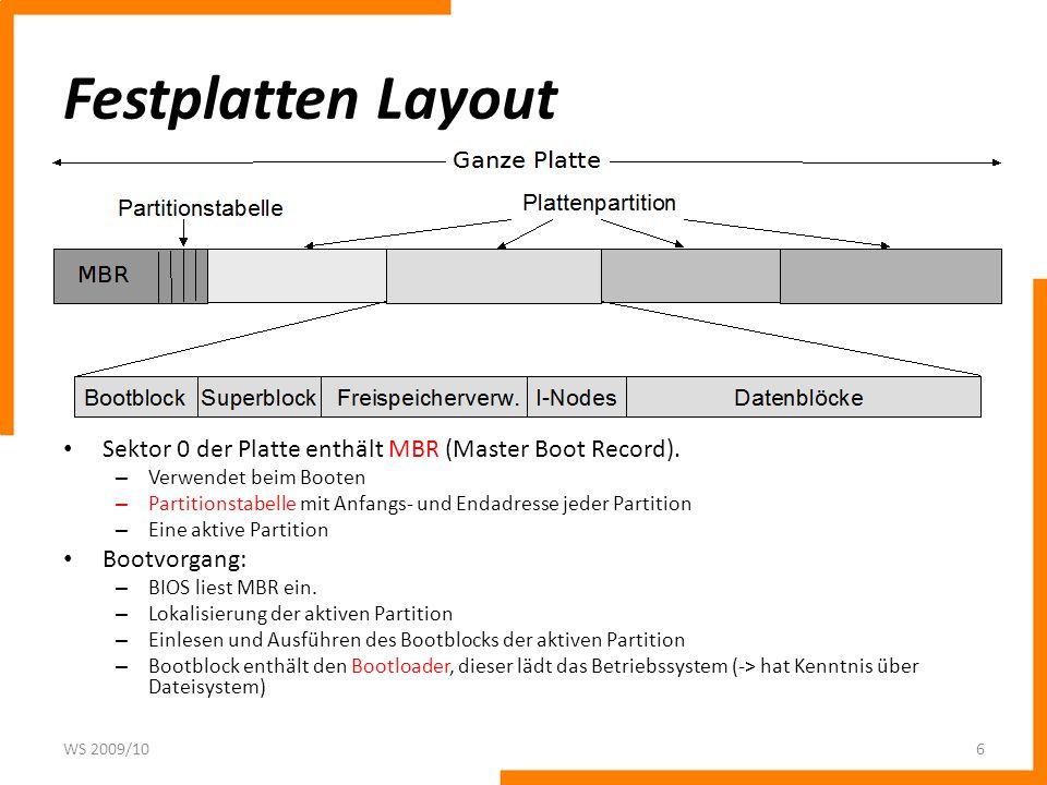 Festplatten Layout Sektor 0 der Platte enthält MBR (Master Boot Record). – Verwendet beim Booten – Partitionstabelle mit Anfangs- und Endadresse jeder