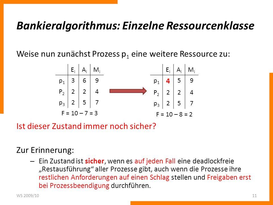 Bankieralgorithmus: Einzelne Ressourcenklasse Weise nun zunächst Prozess p 1 eine weitere Ressource zu: Ist dieser Zustand immer noch sicher? Zur Erin