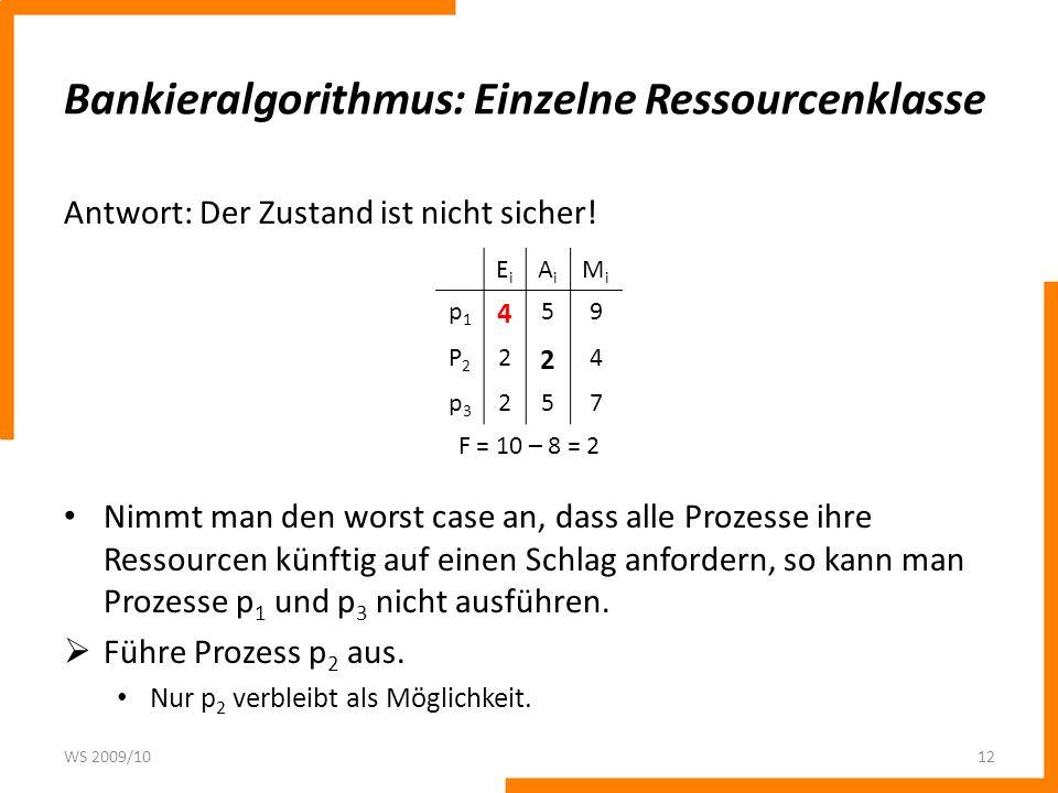 Bankieralgorithmus: Einzelne Ressourcenklasse Antwort: Der Zustand ist nicht sicher! Nimmt man den worst case an, dass alle Prozesse ihre Ressourcen k
