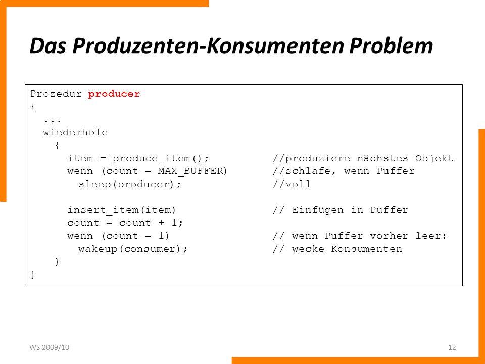 Das Produzenten-Konsumenten Problem WS 2009/1012 Prozedur producer {... wiederhole { item = produce_item();//produziere nächstes Objekt wenn (count =